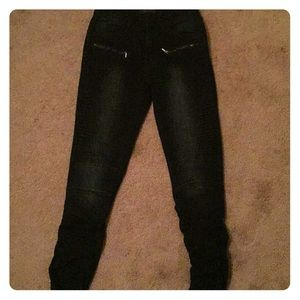 American Bazi Jeans - Black skinny jeans with zippers